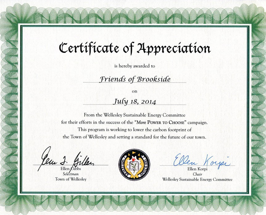 Friends of brookside preserving and protecting the brookside friends of brookside was pleased to be awarded a certificate of appreciation from wellesleys sustainable energy committee for our efforts to support the yelopaper Gallery